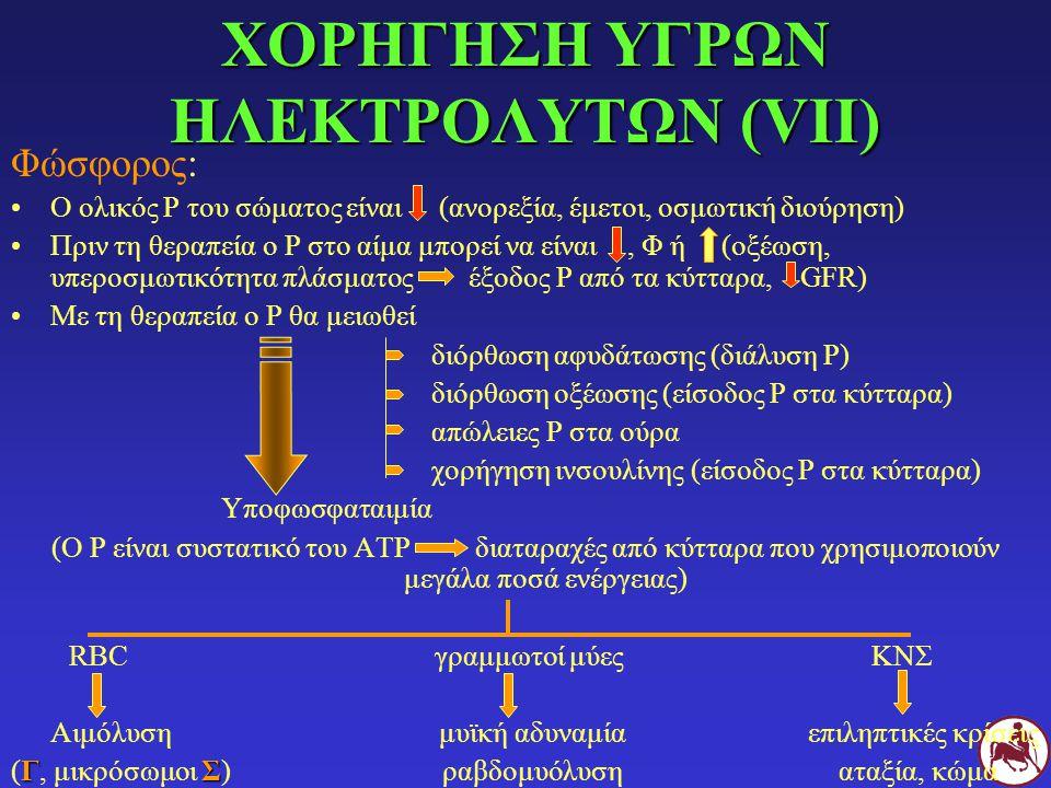 ΧΟΡΗΓΗΣΗ ΥΓΡΩΝ ΗΛΕΚΤΡΟΛΥΤΩΝ (VΙΙ) Φώσφορος: Ο ολικός Ρ του σώματος είναι (ανορεξία, έμετοι, οσμωτική διούρηση) Πριν τη θεραπεία ο Ρ στο αίμα μπορεί να