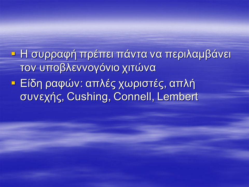  Η συρραφή πρέπει πάντα να περιλαμβάνει τον υποβλεννογόνιο χιτώνα  Είδη ραφών: απλές χωριστές, απλή συνεχής, Cushing, Connell, Lembert