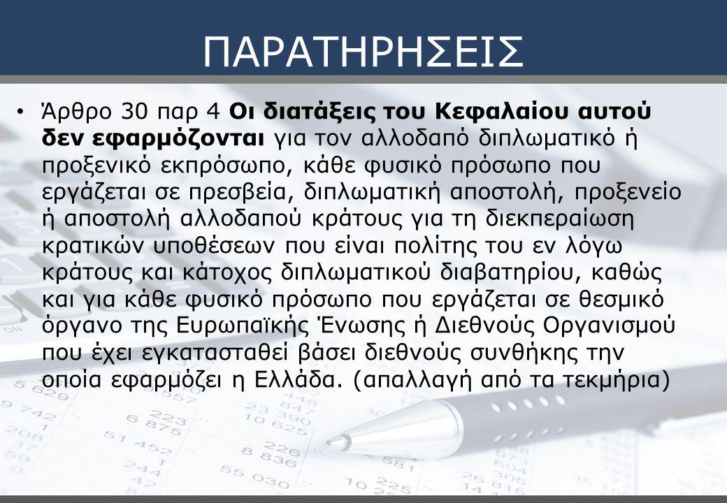 ΠΑΡΑΤΗΡΗΣΕΙΣ Άρθρο 30 παρ 4 Οι διατάξεις του Κεφαλαίου αυτού δεν εφαρμόζονται για τον αλλοδαπό διπλωματικό ή προξενικό εκπρόσωπο, κάθε φυσικό πρόσωπο που εργάζεται σε πρεσβεία, διπλωματική αποστολή, προξενείο ή αποστολή αλλοδαπού κράτους για τη διεκπεραίωση κρατικών υποθέσεων που είναι πολίτης του εν λόγω κράτους και κάτοχος διπλωματικού διαβατηρίου, καθώς και για κάθε φυσικό πρόσωπο που εργάζεται σε θεσμικό όργανο της Ευρωπαι ̈ κής Ένωσης ή Διεθνούς Οργανισμού που έχει εγκατασταθεί βάσει διεθνούς συνθήκης την οποία εφαρμόζει η Ελλάδα.
