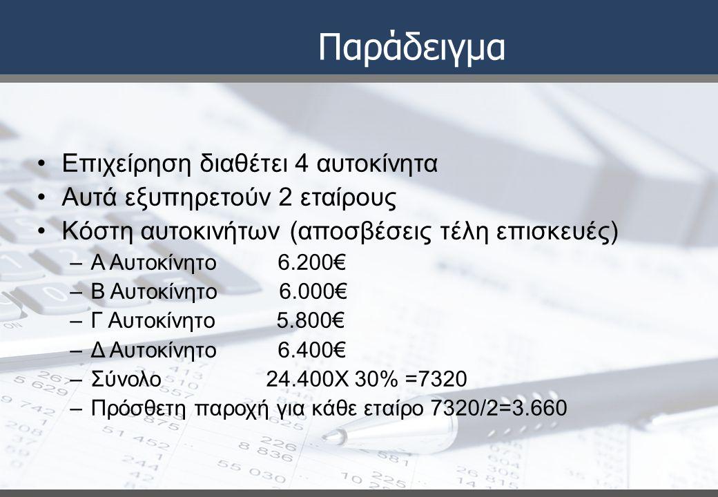 Παράδειγμα Επιχείρηση διαθέτει 4 αυτοκίνητα Αυτά εξυπηρετούν 2 εταίρους Κόστη αυτοκινήτων (αποσβέσεις τέλη επισκευές) –Α Αυτοκίνητο 6.200€ –Β Αυτοκίνητο 6.000€ –Γ Αυτοκίνητο 5.800€ –Δ Αυτοκίνητο 6.400€ –Σύνολο 24.400Χ 30% =7320 –Πρόσθετη παροχή για κάθε εταίρο 7320/2=3.660