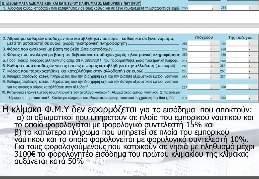 Φορολογική κατοικία άρθρο 4 Η κλίμακα Φ.Μ.Υ δεν εφαρμόζεται για το εισόδημα που αποκτούν: α) οι αξιωματικοί που υπηρετούν σε πλοία του εμπορικού ναυτικού και το οποίο φορολογείται με φορολογικό συντελεστή 15% και β) το κατώτερο πλήρωμα που υπηρετεί σε πλοία του εμπορικού ναυτικού και το οποίο φορολογείται με φορολογικό συντελεστή 10%.