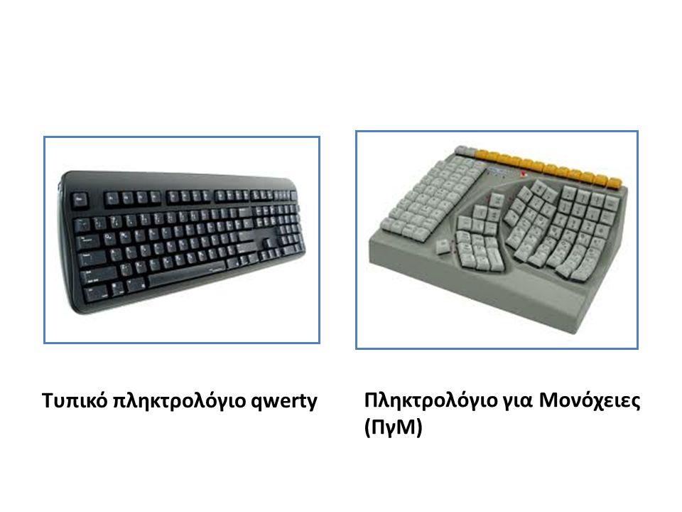Τυπικό πληκτρολόγιο qwerty Πληκτρολόγιο για Μονόχειες (ΠγΜ)