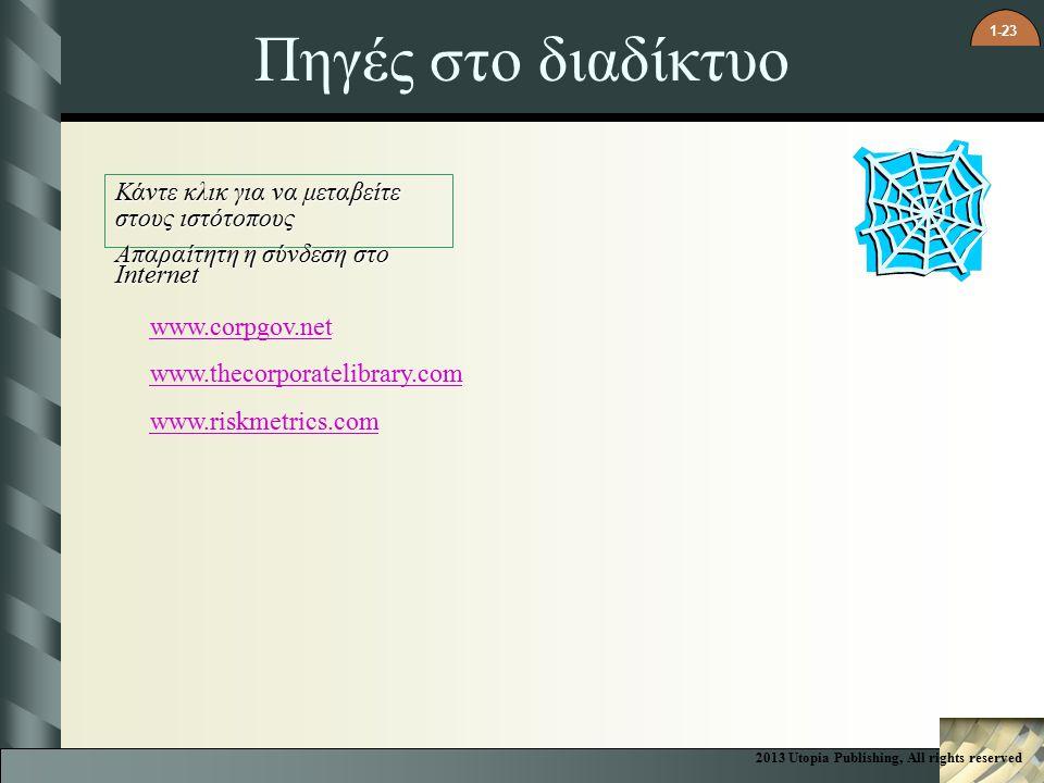 1-23 Πηγές στο διαδίκτυο Κάντε κλικ για να μεταβείτε στους ιστότοπους Απαραίτητη η σύνδεση στο Internet www.corpgov.net www.thecorporatelibrary.com www.riskmetrics.com 2013 Utopia Publishing, All rights reserved