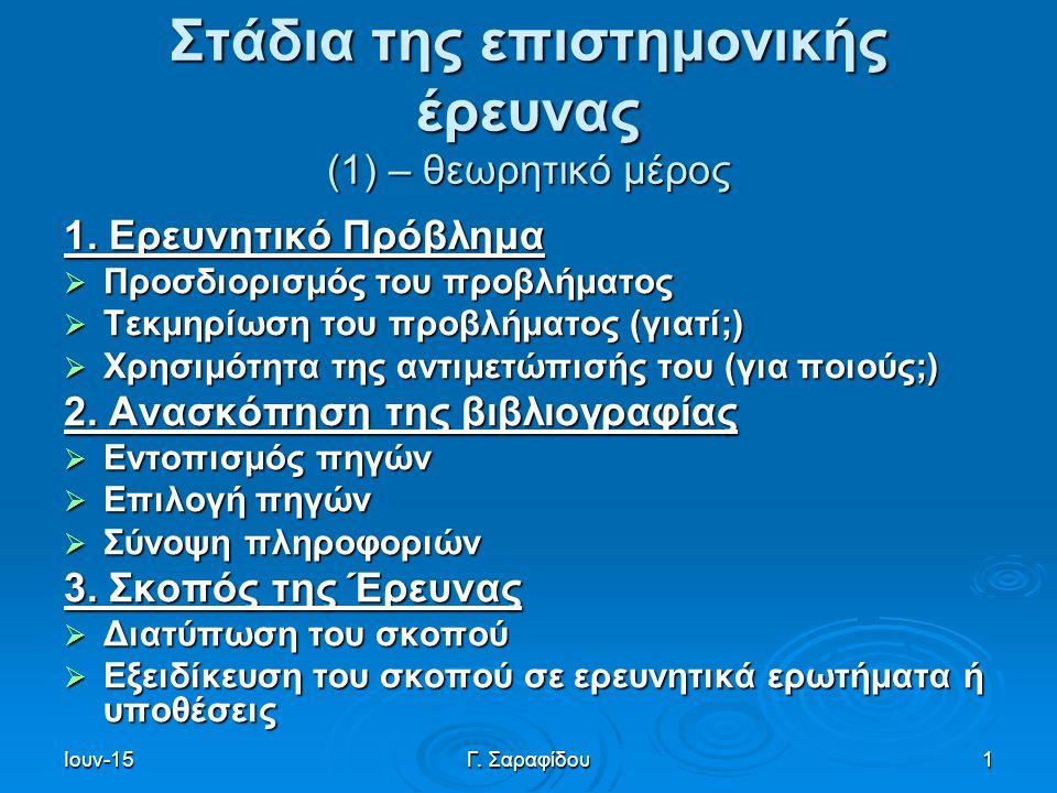 Ιουν-15Γ. Σαραφίδου1 Στάδια της επιστημονικής έρευνας (1) – θεωρητικό μέρος 1. Ερευνητικό Πρόβλημα  Προσδιορισμός του προβλήματος  Τεκμηρίωση του πρ