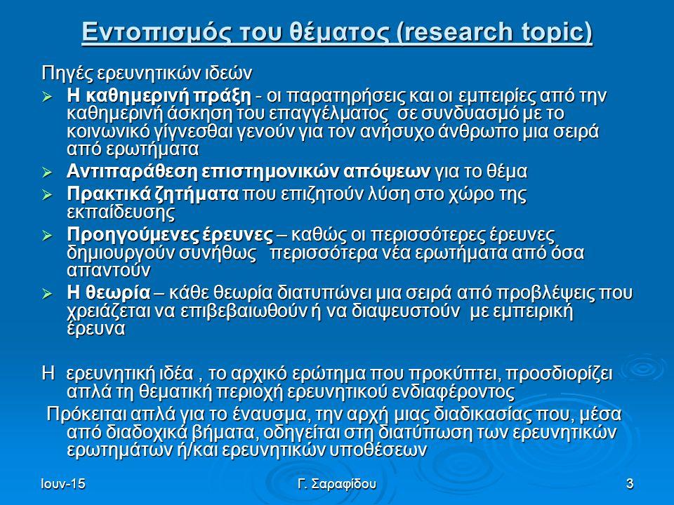 Ιουν-15Γ. Σαραφίδου3 Εντοπισμός του θέματος (research topic) Πηγές ερευνητικών ιδεών  Η καθημερινή πράξη - οι παρατηρήσεις και οι εμπειρίες από την κ
