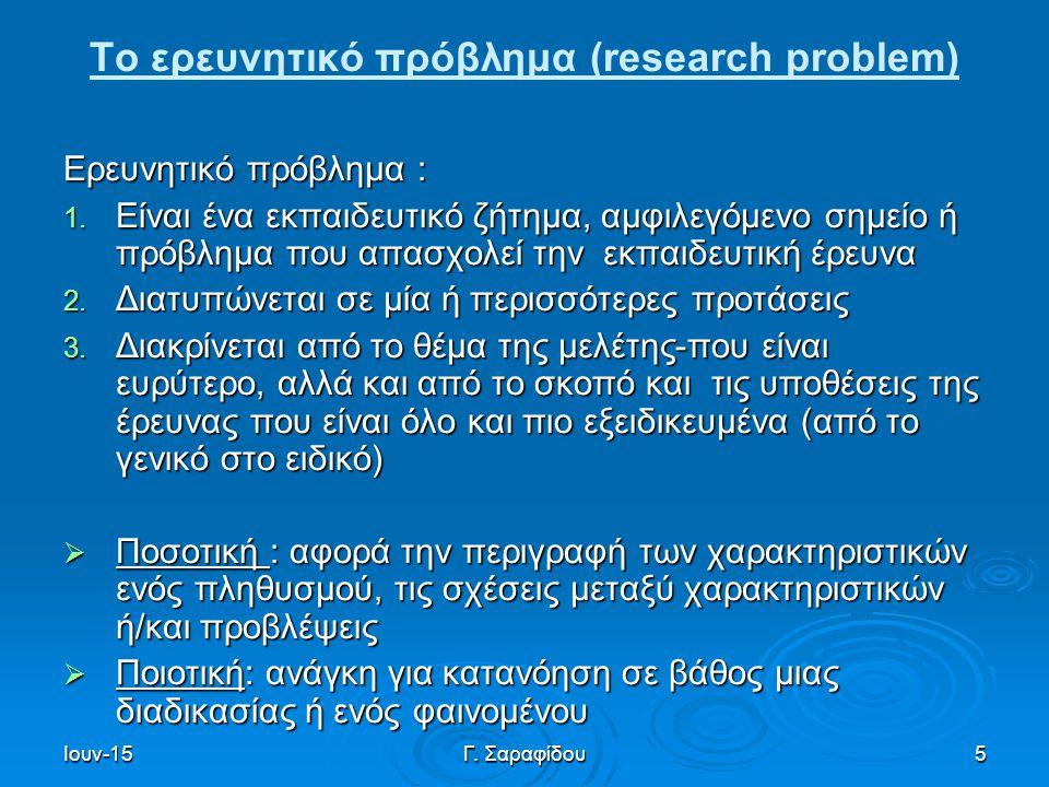 Ιουν-15Γ. Σαραφίδου5 Το ερευνητικό πρόβλημα (research problem) Ερευνητικό πρόβλημα : 1. Είναι ένα εκπαιδευτικό ζήτημα, αμφιλεγόμενο σημείο ή πρόβλημα
