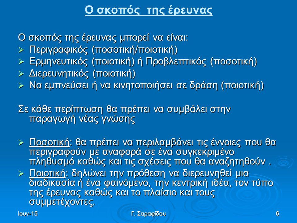 Ιουν-15Γ. Σαραφίδου6 Ο σκοπός της έρευνας Ο σκοπός της έρευνας μπορεί να είναι:  Περιγραφικός (ποσοτική/ποιοτική)  Ερμηνευτικός (ποιοτική) ή Προβλεπ