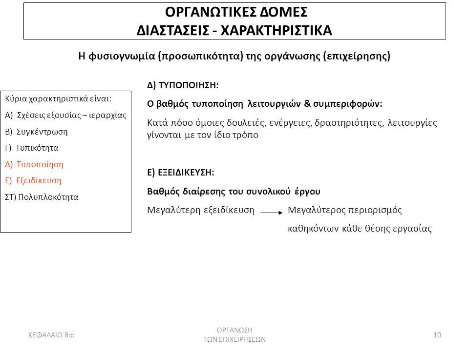 ΚΕΦΑΛΑΙΟ 8ο: ΟΡΓΑΝΩΣΗ ΤΩΝ ΕΠΙΧΕΙΡΗΣΕΩΝ 10 ΟΡΓΑΝΩΤΙΚΕΣ ΔΟΜΕΣ ΔΙΑΣΤΑΣΕΙΣ - ΧΑΡΑΚΤΗΡΙΣΤΙΚΑ Η φυσιογνωμία (προσωπικότητα) της οργάνωσης (επιχείρησης) Κύρι