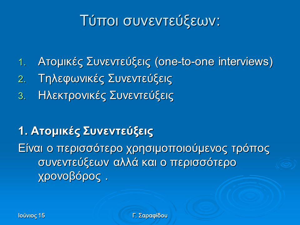 Ιούνιος 15Γ.Σαραφίδου Τύποι συνεντεύξεων: 1. Aτομικές Συνεντεύξεις (one-to-one interviews) 2.