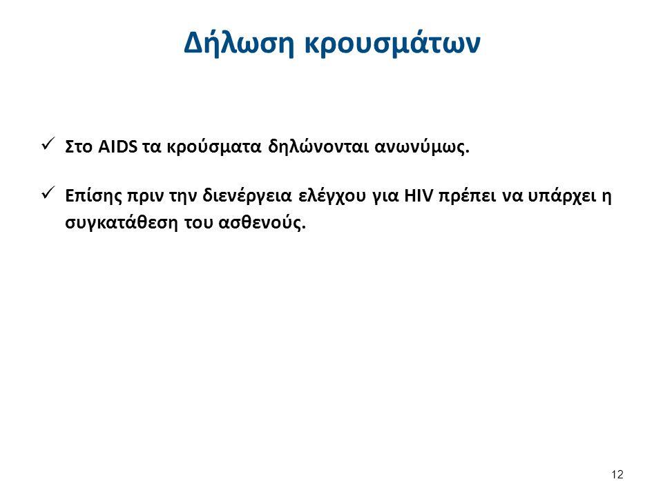 Δήλωση κρουσμάτων Στο AIDS τα κρούσματα δηλώνονται ανωνύμως.