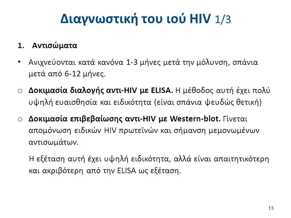 Διαγνωστική του ιού HIV 1/3 1.Αντισώματα Ανιχνεύονται κατά κανόνα 1-3 μήνες μετά την μόλυνση, σπάνια μετά από 6-12 μήνες.