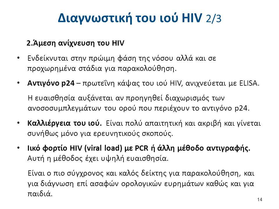 Διαγνωστική του ιού HIV 2/3 2.Άμεση ανίχνευση του HIV Ενδείκνυται στην πρώιμη φάση της νόσου αλλά και σε προχωρημένα στάδια για παρακολούθηση.