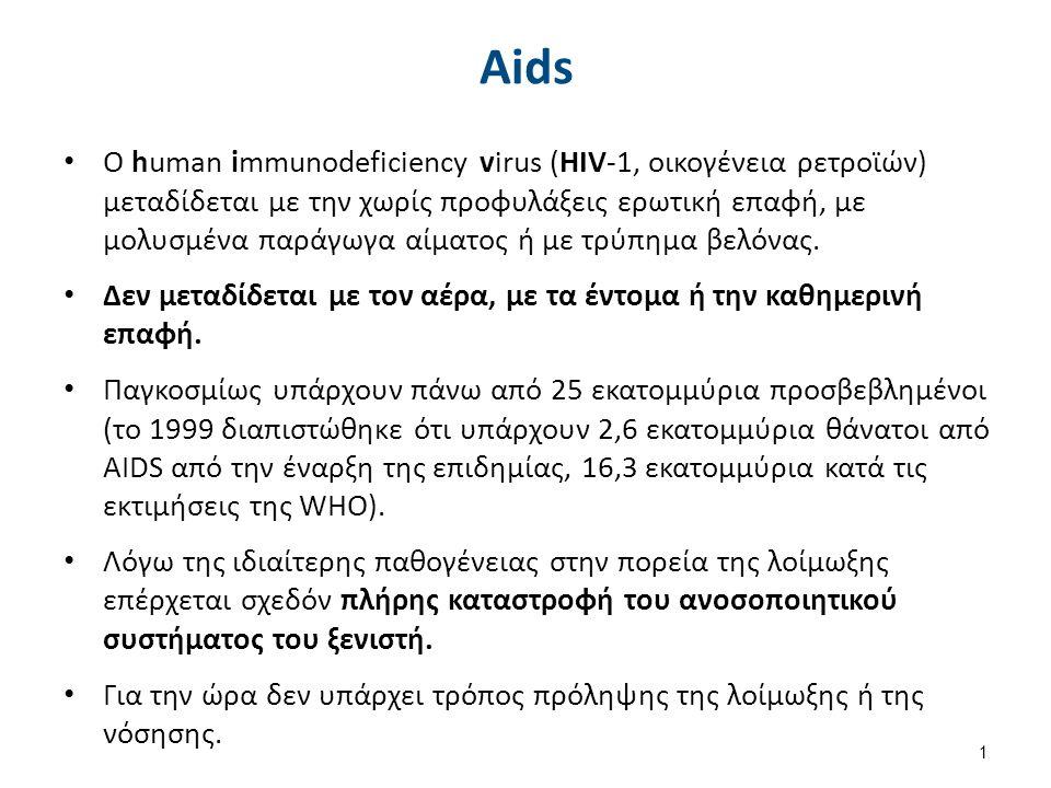 Aids O human immunodeficiency virus (HIV-1, οικογένεια ρετροϊών) μεταδίδεται με την χωρίς προφυλάξεις ερωτική επαφή, με μολυσμένα παράγωγα αίματος ή με τρύπημα βελόνας.