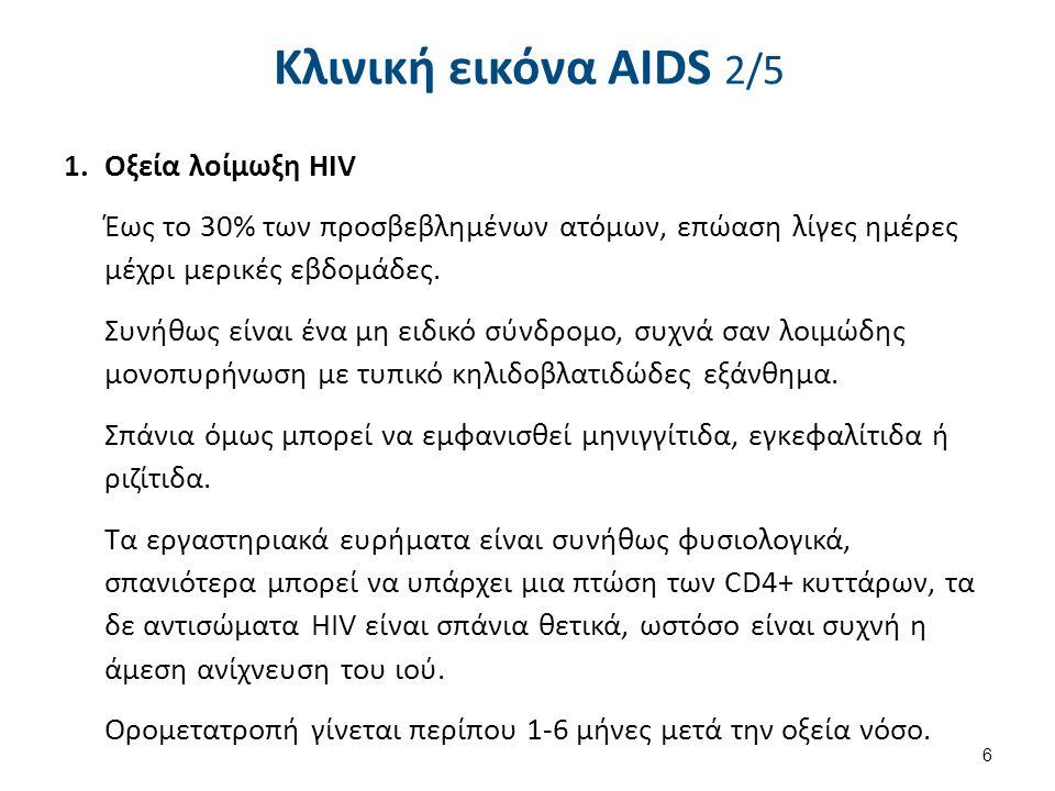 Κλινική εικόνα AIDS 2/5 1.Οξεία λοίμωξη HIV Έως το 30% των προσβεβλημένων ατόμων, επώαση λίγες ημέρες μέχρι μερικές εβδομάδες.