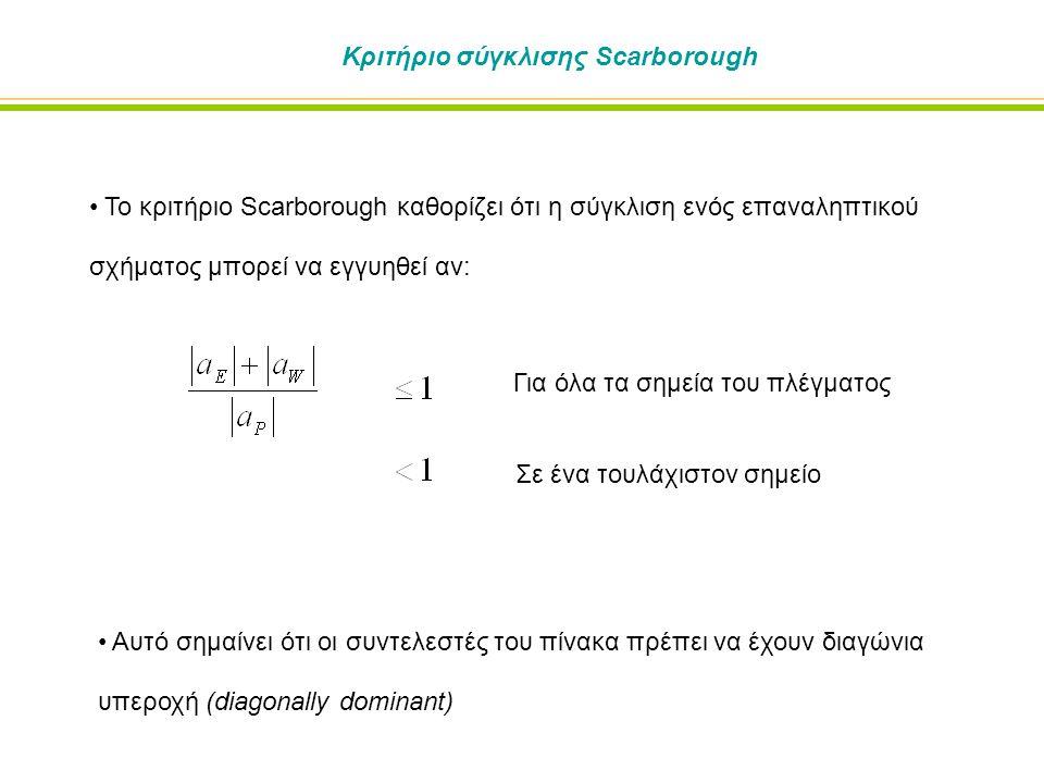 Κριτήριο σύγκλισης Scarborough Το κριτήριο Scarborough καθορίζει ότι η σύγκλιση ενός επαναληπτικού σχήματος μπορεί να εγγυηθεί αν: Αυτό σημαίνει ότι οι συντελεστές του πίνακα πρέπει να έχουν διαγώνια υπεροχή (diagonally dominant) Για όλα τα σημεία του πλέγματος Σε ένα τουλάχιστον σημείο