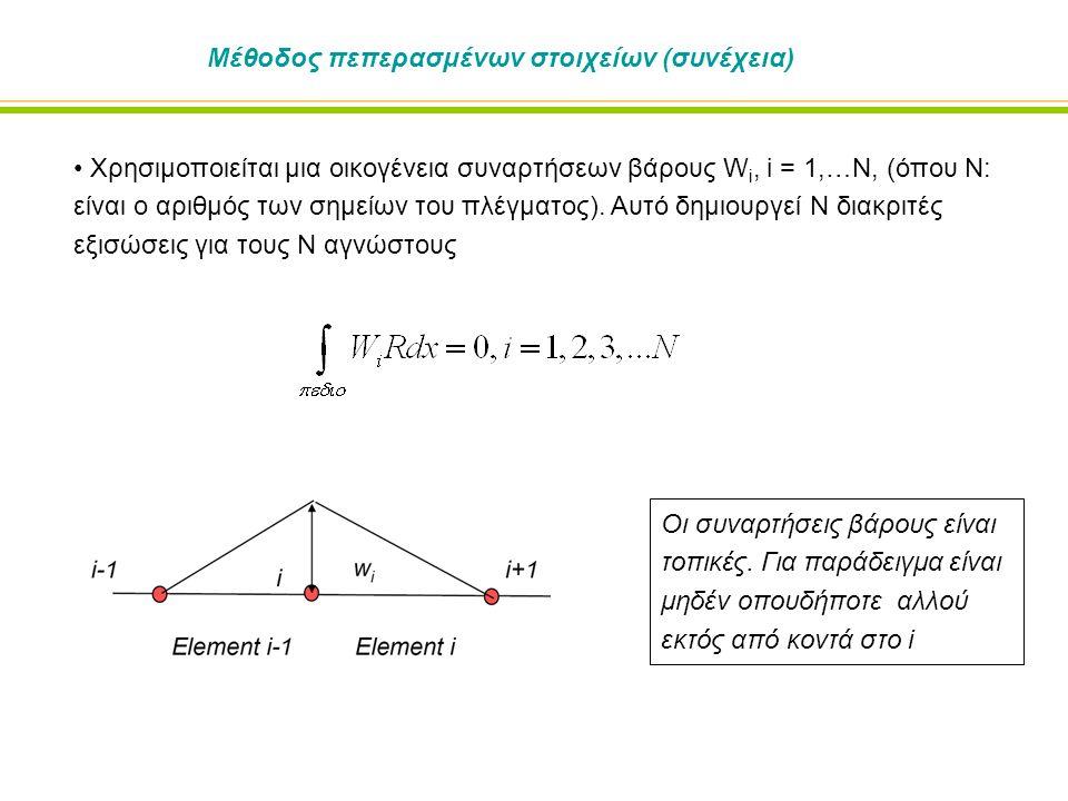 Μέθοδος πεπερασμένων στοιχείων (συνέχεια) Χρησιμοποιείται μια οικογένεια συναρτήσεων βάρους W i, i = 1,…N, (όπου N: είναι ο αριθμός των σημείων του πλέγματος).