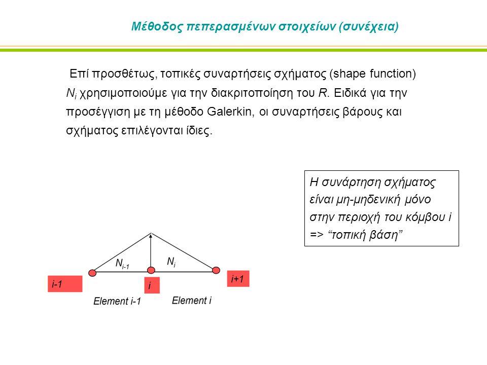 Μέθοδος πεπερασμένων στοιχείων (συνέχεια) Επί προσθέτως, τοπικές συναρτήσεις σχήματος (shape function) N i χρησιμοποιούμε για την διακριτοποίηση του R.