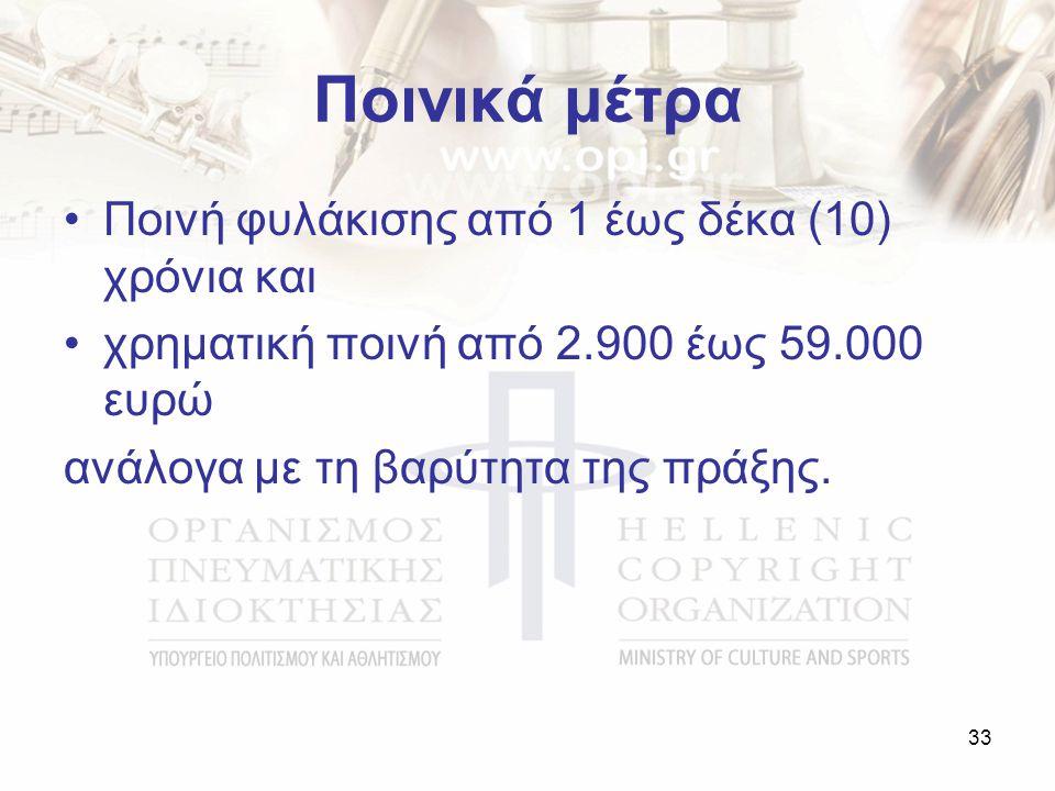 Ποινικά μέτρα Ποινή φυλάκισης από 1 έως δέκα (10) χρόνια και χρηματική ποινή από 2.900 έως 59.000 ευρώ ανάλογα με τη βαρύτητα της πράξης.