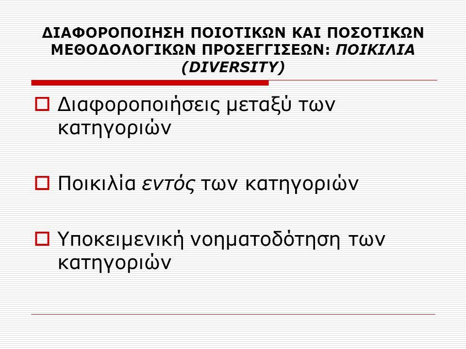 ΔΙΑΦΟΡΟΠΟΙΗΣΗ ΠΟΙΟΤΙΚΩΝ ΚΑΙ ΠΟΣΟΤΙΚΩΝ ΜΕΘΟΔΟΛΟΓΙΚΩΝ ΠΡΟΣΕΓΓΙΣΕΩΝ: ΠΟΙΚΙΛΙΑ (DIVERSITY)  Διαφοροποιήσεις μεταξύ των κατηγοριών  Ποικιλία εντός των κα