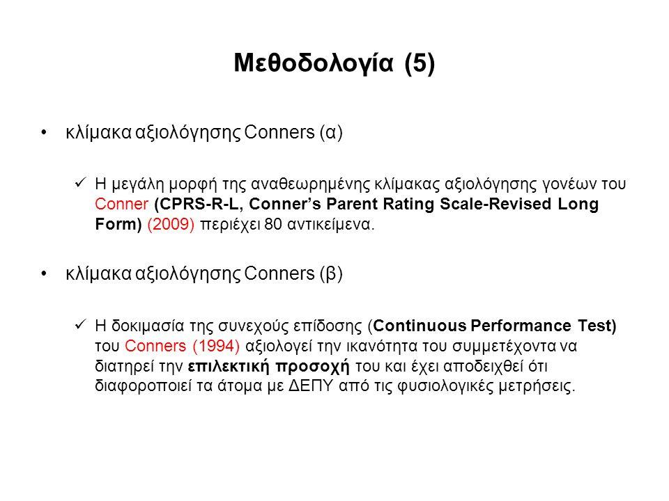 Μεθοδολογία (5) κλίμακα αξιολόγησης Conners (α) Η μεγάλη μορφή της αναθεωρημένης κλίμακας αξιολόγησης γονέων του Conner (CPRS-R-L, Conner's Parent Rat
