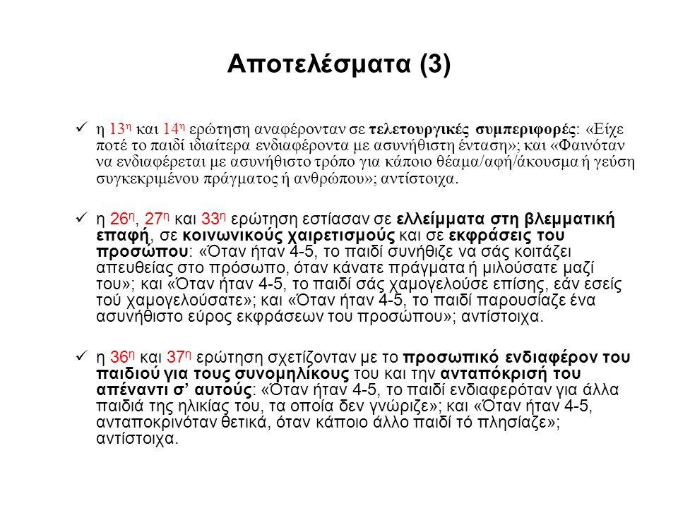 Αποτελέσματα (3) η 13 η και 14 η ερώτηση αναφέρονταν σε τελετουργικές συμπεριφορές: «Είχε ποτέ το παιδί ιδιαίτερα ενδιαφέροντα με ασυνήθιστη ένταση»;