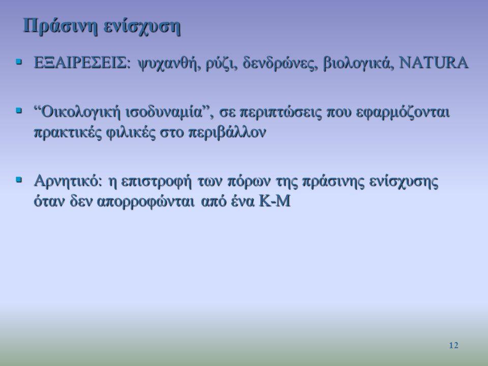 ΕΞΑΙΡΕΣΕΙΣ: ψυχανθή, ρύζι, δενδρώνες, βιολογικά, NATURA  Οικολογική ισοδυναμία , σε περιπτώσεις που εφαρμόζονται πρακτικές φιλικές στο περιβάλλον  Αρνητικό: η επιστροφή των πόρων της πράσινης ενίσχυσης όταν δεν απορροφώνται από ένα Κ-Μ Πράσινη ενίσχυση 12