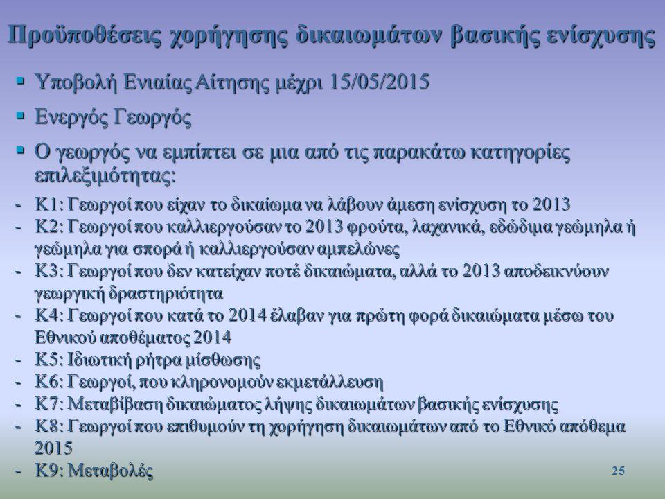 Προϋποθέσεις χορήγησης δικαιωμάτων βασικής ενίσχυσης  Υποβολή Ενιαίας Αίτησης μέχρι 15/05/2015  Ενεργός Γεωργός  Ο γεωργός να εμπίπτει σε μια από τις παρακάτω κατηγορίες επιλεξιμότητας: -Κ1: Γεωργοί που είχαν το δικαίωμα να λάβουν άμεση ενίσχυση το 2013 -Κ2: Γεωργοί που καλλιεργούσαν το 2013 φρούτα, λαχανικά, εδώδιμα γεώμηλα ή γεώμηλα για σπορά ή καλλιεργούσαν αμπελώνες -Κ3: Γεωργοί που δεν κατείχαν ποτέ δικαιώματα, αλλά το 2013 αποδεικνύουν γεωργική δραστηριότητα -Κ4: Γεωργοί που κατά το 2014 έλαβαν για πρώτη φορά δικαιώματα μέσω του Εθνικού αποθέματος 2014 -Κ5: Ιδιωτική ρήτρα μίσθωσης -Κ6: Γεωργοί, που κληρονομούν εκμετάλλευση -Κ7: Μεταβίβαση δικαιώματος λήψης δικαιωμάτων βασικής ενίσχυσης -Κ8: Γεωργοί που επιθυμούν τη χορήγηση δικαιωμάτων από το Εθνικό απόθεμα 2015 -Κ9: Μεταβολές 25