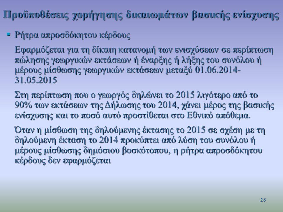 Προϋποθέσεις χορήγησης δικαιωμάτων βασικής ενίσχυσης  Ρήτρα απροσδόκητου κέρδους Εφαρμόζεται για τη δίκαιη κατανομή των ενισχύσεων σε περίπτωση πώλησης γεωργικών εκτάσεων ή έναρξης ή λήξης του συνόλου ή μέρους μίσθωσης γεωργικών εκτάσεων μεταξύ 01.06.2014- 31.05.2015 Στη περίπτωση που ο γεωργός δηλώνει το 2015 λιγότερο από το 90% των εκτάσεων της Δήλωσης του 2014, χάνει μέρος της βασικής ενίσχυσης και το ποσό αυτό προστίθεται στο Εθνικό απόθεμα.