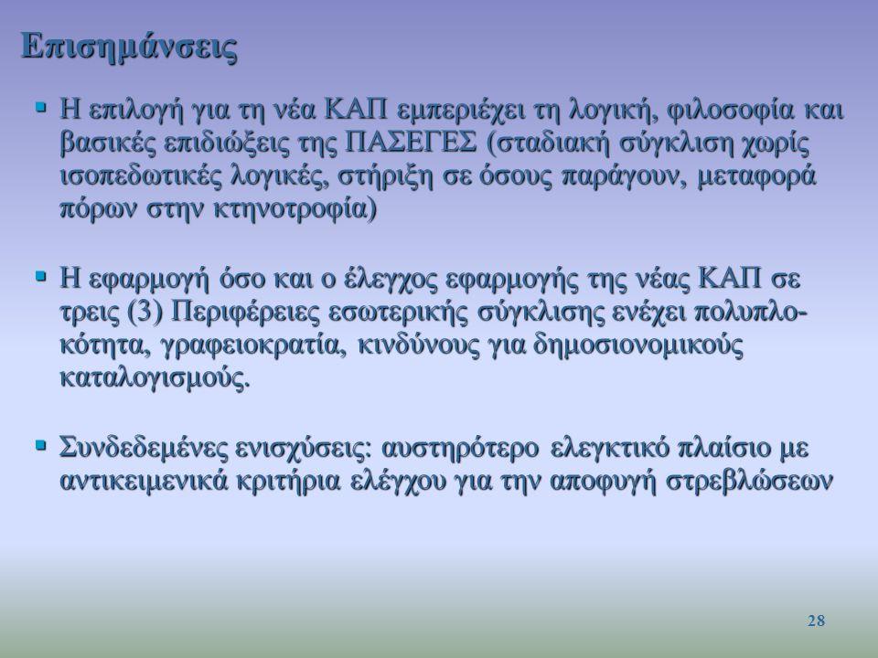 Επισημάνσεις  Η επιλογή για τη νέα ΚΑΠ εμπεριέχει τη λογική, φιλοσοφία και βασικές επιδιώξεις της ΠΑΣΕΓΕΣ (σταδιακή σύγκλιση χωρίς ισοπεδωτικές λογικές, στήριξη σε όσους παράγουν, μεταφορά πόρων στην κτηνοτροφία)  Η εφαρμογή όσο και ο έλεγχος εφαρμογής της νέας ΚΑΠ σε τρεις (3) Περιφέρειες εσωτερικής σύγκλισης ενέχει πολυπλο- κότητα, γραφειοκρατία, κινδύνους για δημοσιονομικούς καταλογισμούς.