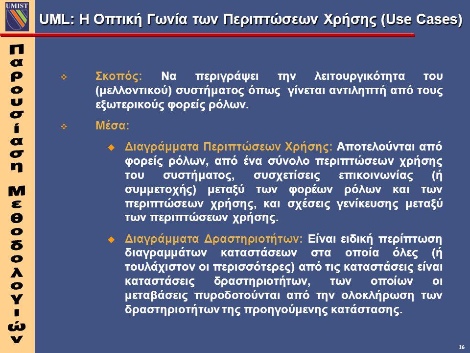 16 UML: Η Οπτική Γωνία των Περιπτώσεων Χρήσης (Use Cases) v v Σκοπός: Να περιγράψει την λειτουργικότητα του (μελλοντικού) συστήματος όπως γίνεται αντι
