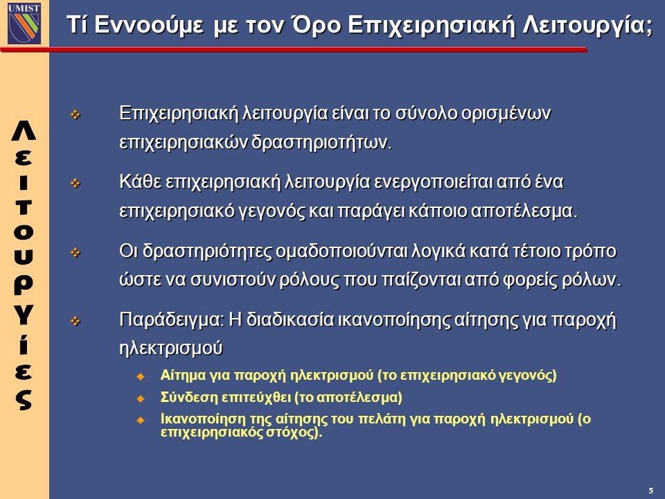 5 Τί Εννοούμε με τον Όρο Επιχειρησιακή Λειτουργία; v Επιχειρησιακή λειτουργία είναι το σύνολο ορισμένων επιχειρησιακών δραστηριοτήτων. v Κάθε επιχειρη