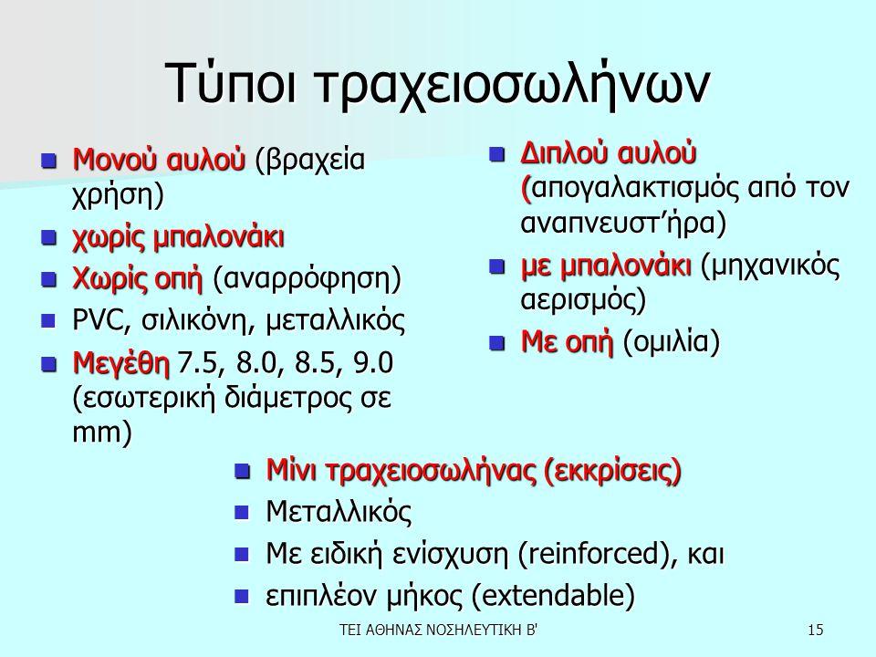 15 Τύποι τραχειοσωλήνων Μονού αυλού (βραχεία χρήση) Μονού αυλού (βραχεία χρήση) χωρίς μπαλονάκι χωρίς μπαλονάκι Χωρίς οπή (αναρρόφηση) Χωρίς οπή (αναρ
