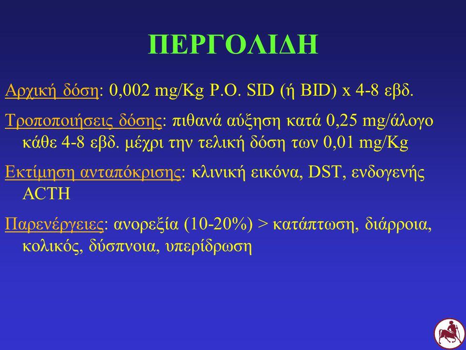 ΠΕΡΓΟΛΙΔΗ Αρχική δόση: 0,002 mg/Kg P.O. SID (ή BID) x 4-8 εβδ. Τροποποιήσεις δόσης: πιθανά αύξηση κατά 0,25 mg/άλογο κάθε 4-8 εβδ. μέχρι την τελική δό