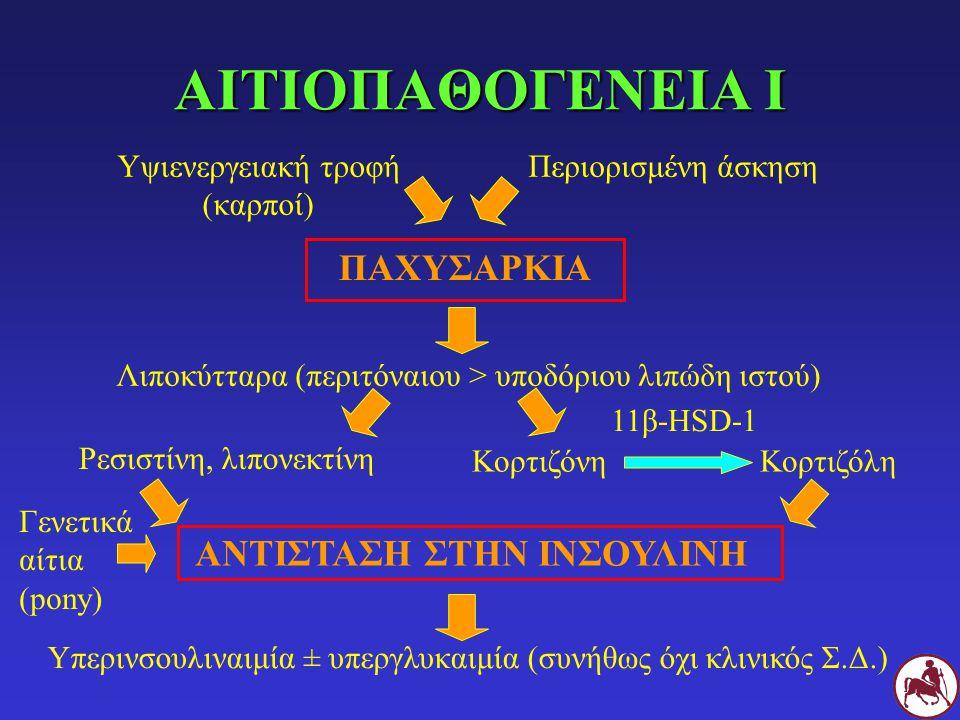 ΑΙΤΙΟΠΑΘΟΓΕΝΕΙΑ Ι Υψιενεργειακή τροφή (καρποί) Περιορισμένη άσκηση ΠΑΧΥΣΑΡΚΙΑ Λιποκύτταρα (περιτόναιου > υποδόριου λιπώδη ιστού) Ρεσιστίνη, λιπονεκτίν