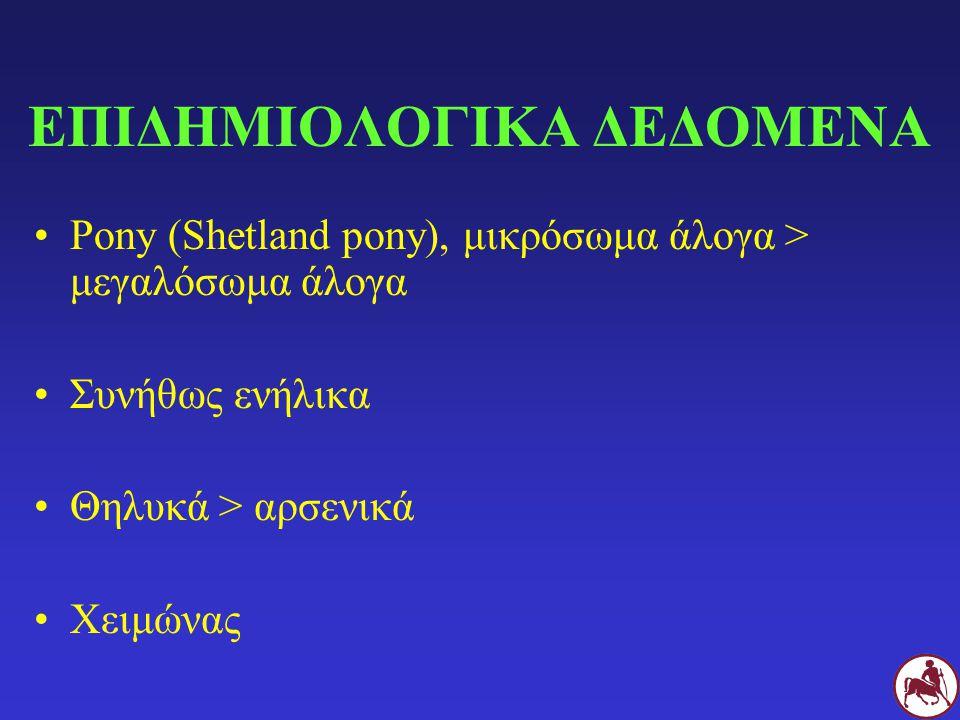 ΕΠΙΔΗΜΙΟΛΟΓΙΚΑ ΔΕΔΟΜΕΝΑ Pony (Shetland pony), μικρόσωμα άλογα > μεγαλόσωμα άλογα Συνήθως ενήλικα Θηλυκά > αρσενικά Χειμώνας