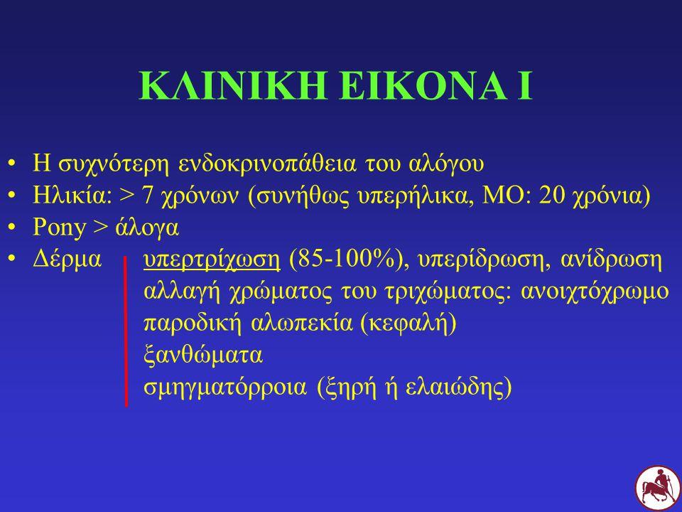 ΑΙΤΙΟΠΑΘΟΓΕΝΕΙΑ Ι Υψιενεργειακή τροφή (καρποί) Περιορισμένη άσκηση ΠΑΧΥΣΑΡΚΙΑ Λιποκύτταρα (περιτόναιου > υποδόριου λιπώδη ιστού) Ρεσιστίνη, λιπονεκτίνη ΚορτιζόνηΚορτιζόλη 11β-HSD-1 ΑΝΤΙΣΤΑΣΗ ΣΤΗΝ ΙΝΣΟΥΛΙΝΗ Υπερινσουλιναιμία ± υπεργλυκαιμία (συνήθως όχι κλινικός Σ.Δ.) Γενετικά αίτια (pony)