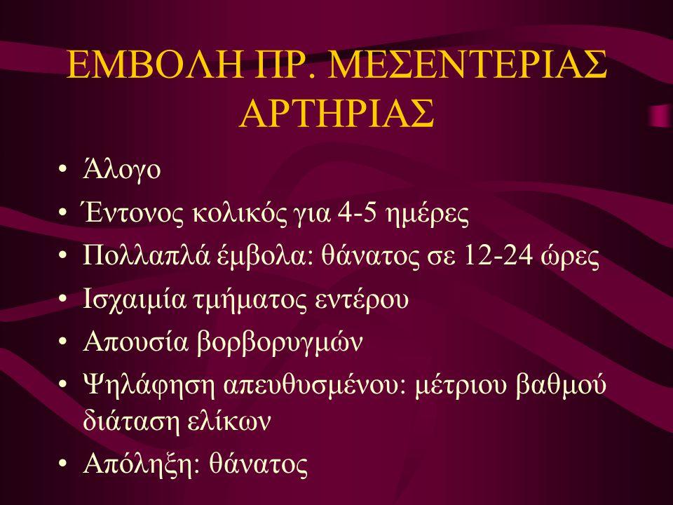 ΕΜΒΟΛΗ ΠΡ. ΜΕΣΕΝΤΕΡΙΑΣ ΑΡΤΗΡΙΑΣ Άλογο Έντονος κολικός για 4-5 ημέρες Πολλαπλά έμβολα: θάνατος σε 12-24 ώρες Ισχαιμία τμήματος εντέρου Απουσία βορβορυγ