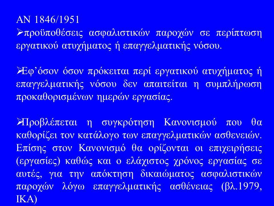 ΑΝ 1846/1951  προϋποθέσεις ασφαλιστικών παροχών σε περίπτωση εργατικού ατυχήματος ή επαγγελματικής νόσου.  Εφ'όσον όσον πρόκειται περί εργατικού ατυ