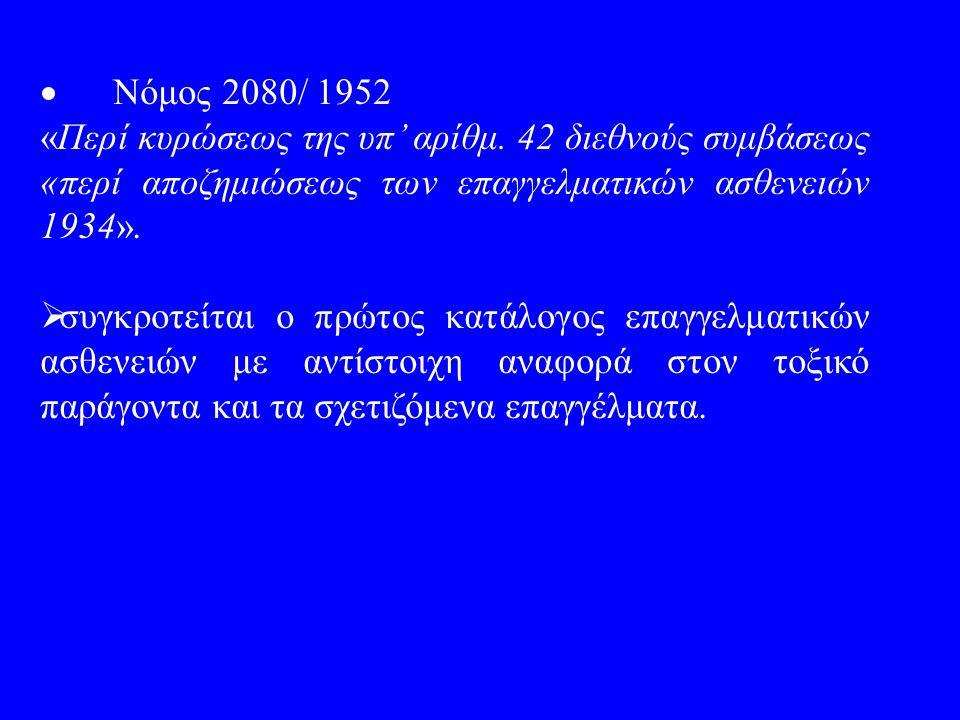  Νόμος 2080/ 1952 «Περί κυρώσεως της υπ' αρίθμ. 42 διεθνούς συμβάσεως «περί αποζημιώσεως των επαγγελματικών ασθενειών 1934».  συγκροτείται ο πρώτος