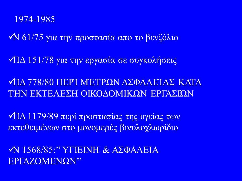 1974-1985 Ν 61/75 για την προστασία απο το βενζόλιο ΠΔ 151/78 για την εργασία σε συγκολήσεις ΠΔ 778/80 ΠΕΡΊ ΜΈΤΡΩΝ ΑΣΦΑΛΕΊΑΣ ΚΑΤΑ ΤΗΝ ΕΚΤΕΛΕΣΗ ΟΙΚΟΔΟΜΙΚΩΝ ΕΡΓΑΣΙΏΝ ΠΔ 1179/89 περί προστασίας της υγείας των εκτεθειμένων στο μονομερές βινυλοχλωρίδιο Ν 1568/85:'' ΥΓΙΕΙΝΗ & ΑΣΦΑΛΕΙΑ ΕΡΓΑΖΟΜΕΝΩΝ''