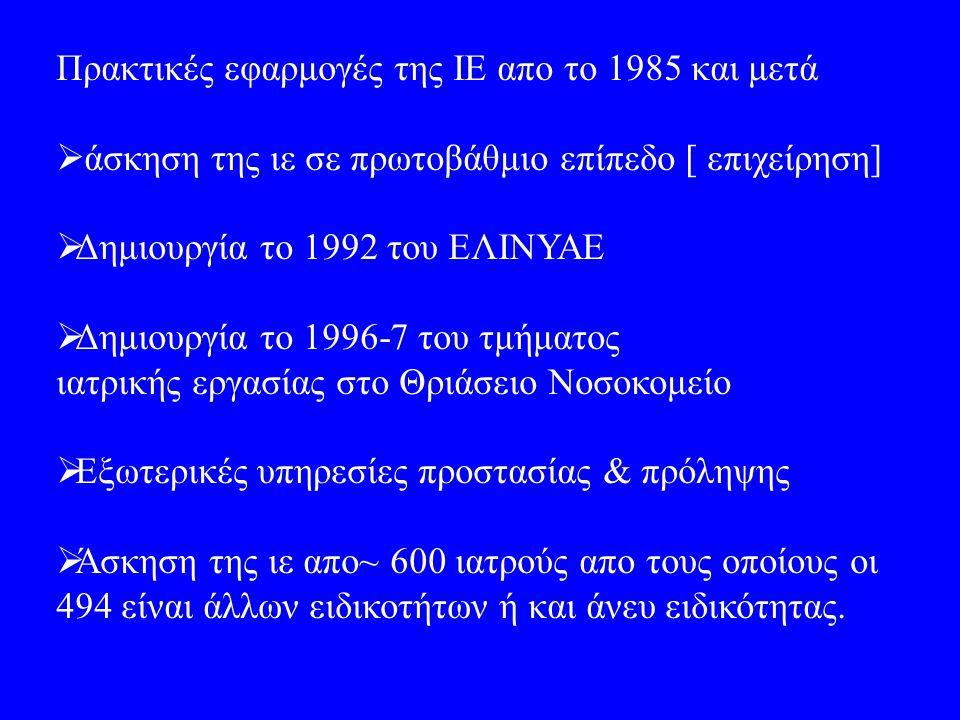 Πρακτικές εφαρμογές της ΙΕ απο το 1985 και μετά  άσκηση της ιε σε πρωτοβάθμιο επίπεδο [ επιχείρηση]  Δημιουργία το 1992 του ΕΛΙΝΥΑΕ  Δημιουργία το 1996-7 του τμήματος ιατρικής εργασίας στο Θριάσειο Νοσοκομείο  Εξωτερικές υπηρεσίες προστασίας & πρόληψης  Άσκηση της ιε απο~ 600 ιατρούς απο τους οποίους οι 494 είναι άλλων ειδικοτήτων ή και άνευ ειδικότητας.