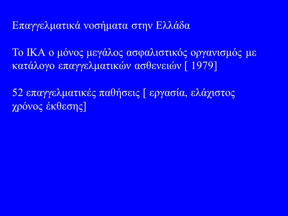 Επαγγελματικά νοσήματα στην Ελλάδα Το ΙΚΑ ο μόνος μεγάλος ασφαλιστικός οργανισμός με κατάλογο επαγγελματικών ασθενειών [ 1979] 52 επαγγελματικές παθήσεις [ εργασία, ελάχιστος χρόνος έκθεσης]