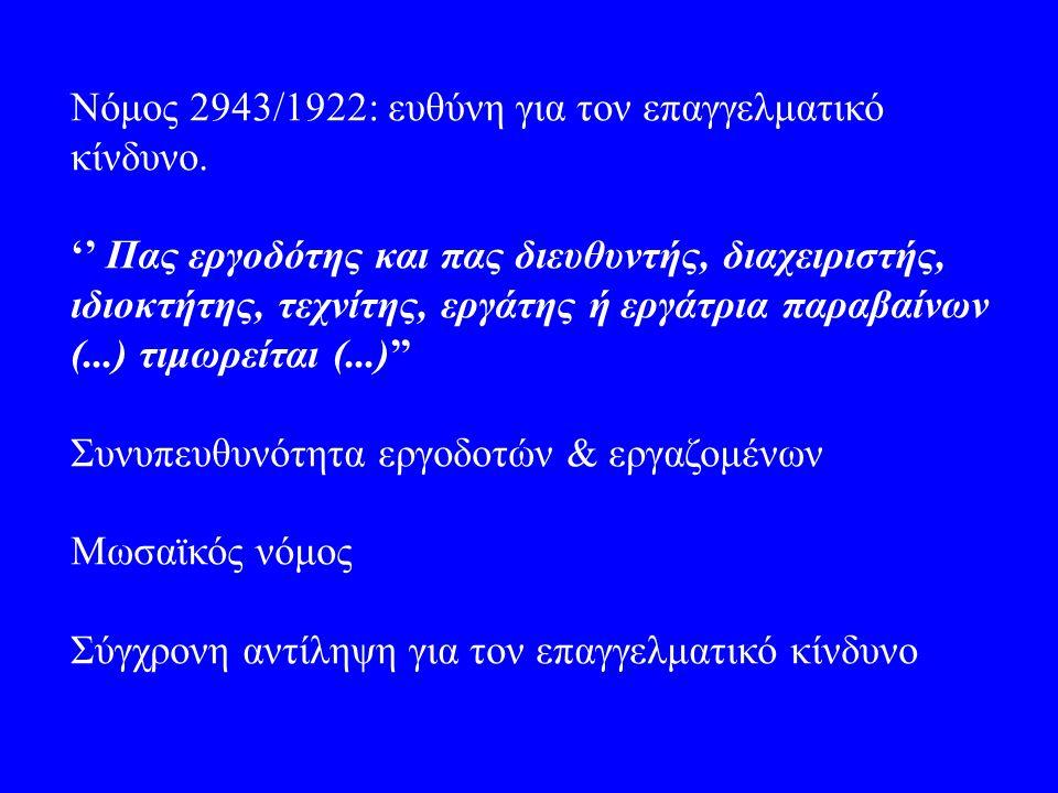 Nόμος 2943/1922: ευθύνη για τον επαγγελματικό κίνδυνο. '' Πας εργοδότης και πας διευθυντής, διαχειριστής, ιδιοκτήτης, τεχνίτης, εργάτης ή εργάτρια παρ