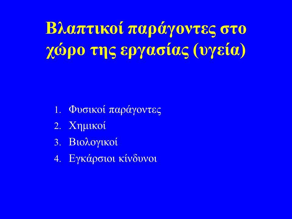 Βλαπτικοί παράγοντες στο χώρο της εργασίας (υγεία) 1. Φυσικοί παράγοντες 2. Χημικοί 3. Βιολογικοί 4. Εγκάρσιοι κίνδυνοι