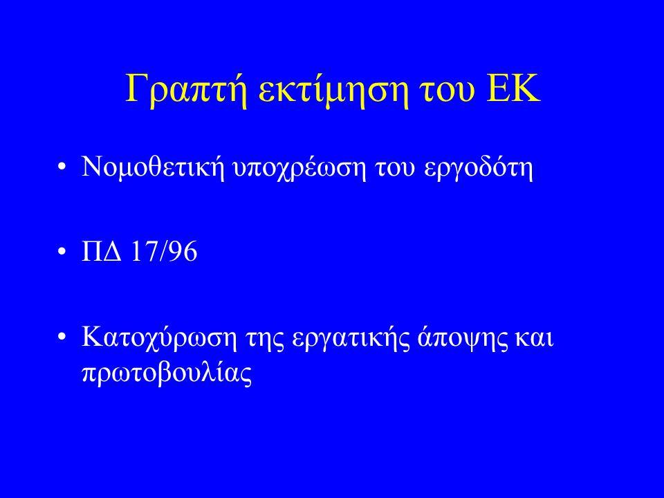 Γραπτή εκτίμηση του ΕΚ Νομοθετική υποχρέωση του εργοδότη ΠΔ 17/96 Κατοχύρωση της εργατικής άποψης και πρωτοβουλίας