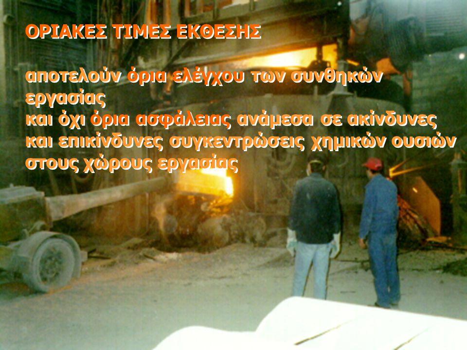 ΟΡΙΑΚΕΣ ΤΙΜΕΣ ΕΚΘΕΣΗΣ αποτελούν όρια ελέγχου των συνθηκών εργασίας και όχι όρια ασφάλειας ανάμεσα σε ακίνδυνες και επικίνδυνες συγκεντρώσεις χημικών ο