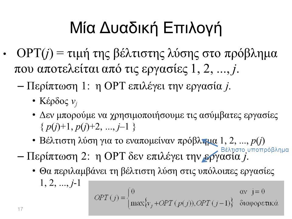 17 Μία Δυαδική Επιλογή OPT(j) = τιμή της βέλτιστης λύσης στο πρόβλημα που αποτελείται από τις εργασίες 1, 2,..., j.