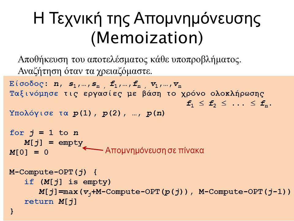 20 Είσοδος: n, s 1,…,s n, f 1,…,f n, v 1,…,v n Ταξινόμησε τις εργασίες με βάση το χρόνο ολοκλήρωσης f 1  f 2 ...