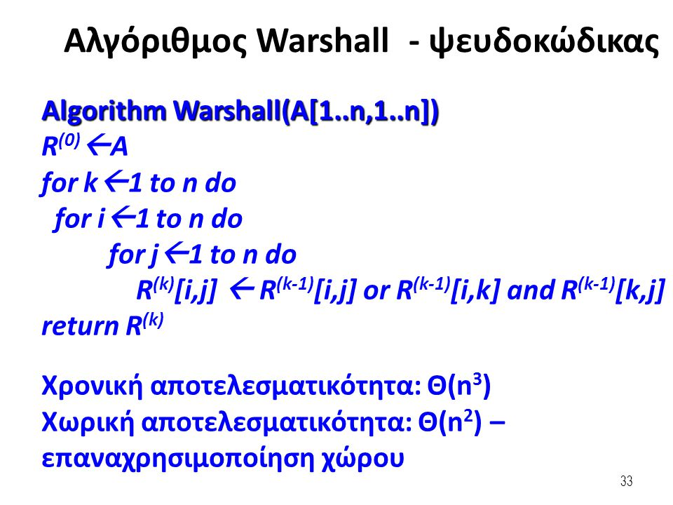 33 Algorithm Warshall(A[1..n,1..n]) R (0)  A for k  1 to n do for i  1 to n do for j  1 to n do R (k) [i,j]  R (k-1) [i,j] or R (k-1) [i,k] and R