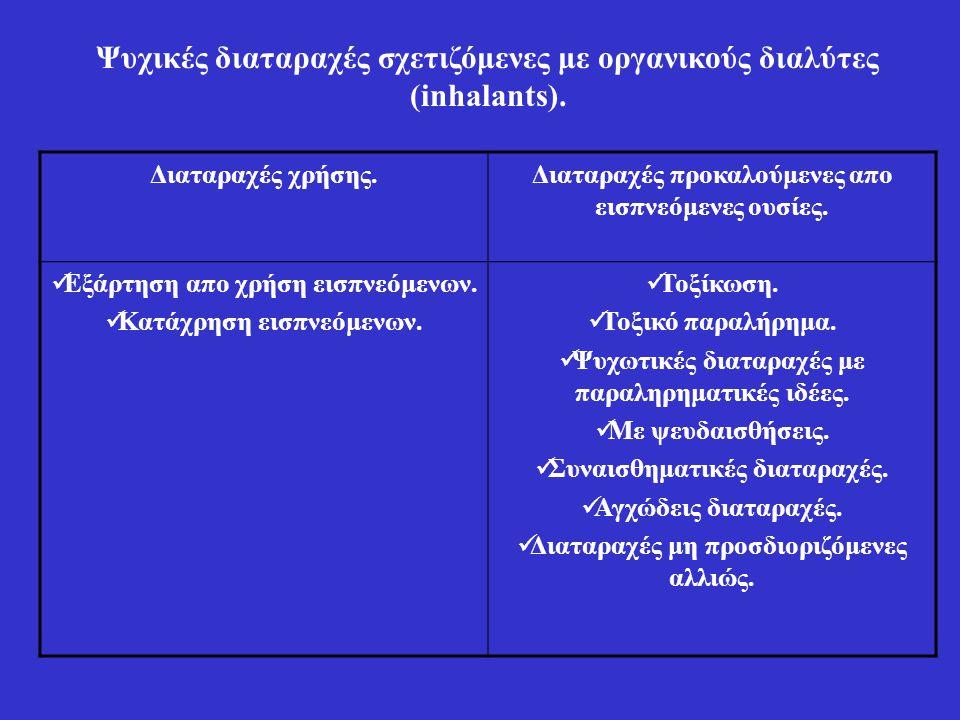 Ψυχικές διαταραχές σχετιζόμενες με οργανικούς διαλύτες (inhalants). Διαταραχές χρήσης.Διαταραχές προκαλούμενες απο εισπνεόμενες ουσίες. Εξάρτηση απο χ
